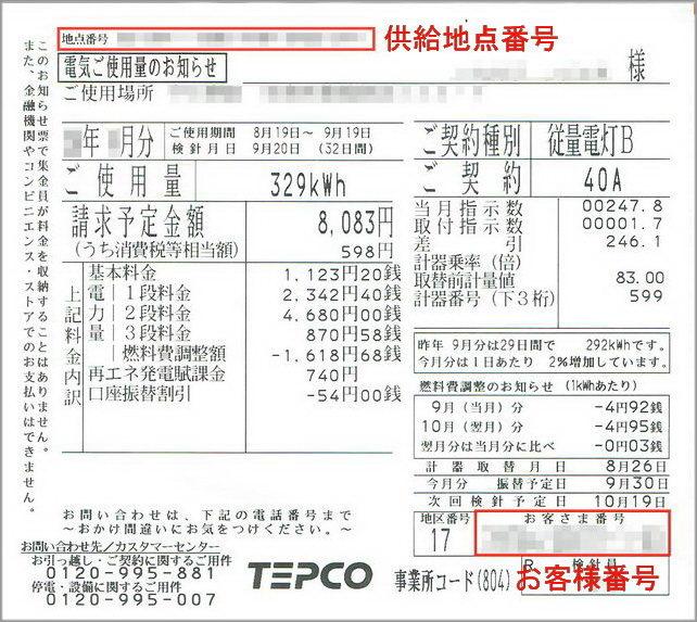 東電電気ご使用量のお知らせ